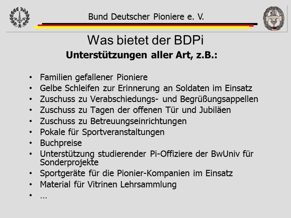 Unterstützung BDPi